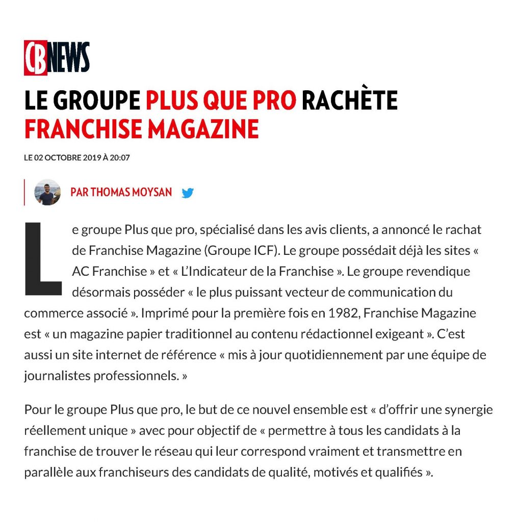 Article CB News - Rachat Franchise Magazine par Plus que PRO