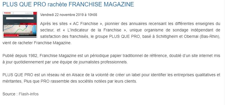 Article Fusacq concernant le rachat de Franchise Magazine