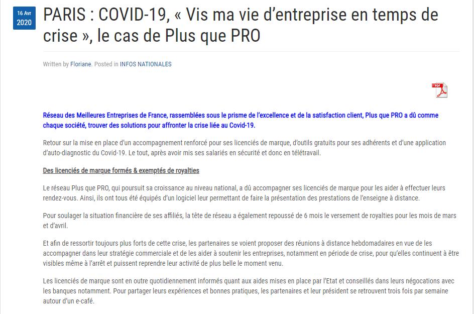Article Presse Agence sur les actions de Plus que PRO durant le Covid-19
