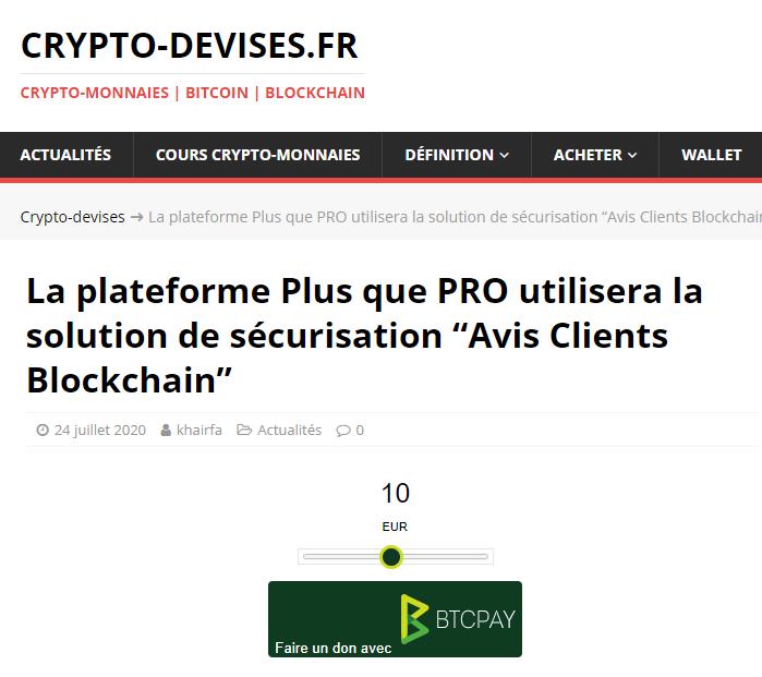 Article Crypto-Devises.fr sur Avis Clients Blockchain